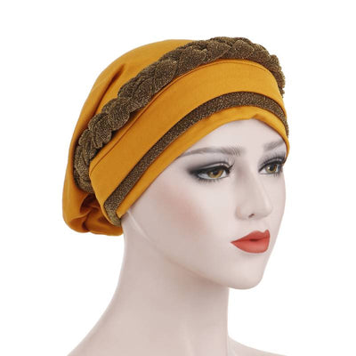 Adrian Braided Flasher Headwrap Headscarf Hijab Turban Cancer Hat Elastic Hair Accessories Hair Loss Headcovering Shop Online Fancy Headcovers-Camel