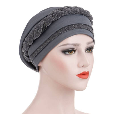 Adrian Braided Flasher Headwrap Headscarf Hijab Turban Cancer Hat Elastic Hair Accessories Hair Loss Headcovering Shop Online Fancy Headcovers-Gray