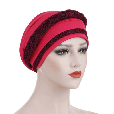 Adrian Braided Flasher Headwrap Headscarf Hijab Turban Cancer Hat Elastic Hair Accessories Hair Loss Headcovering Shop Online Fancy Headcovers-Pink