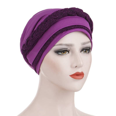 Adrian Braided Flasher Headwrap Headscarf Hijab Turban Cancer Hat Elastic Hair Accessories Hair Loss Headcovering Shop Online Fancy Headcovers-Purple