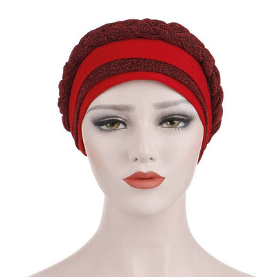 Adrian Braided Flasher Headwrap Headscarf Hijab Turban Cancer Hat Elastic Hair Accessories Hair Loss Headcovering Shop Online Fancy Headcovers-Red-2