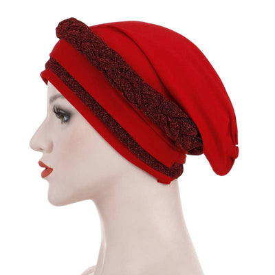 Adrian Braided Flasher Headwrap Headscarf Hijab Turban Cancer Hat Elastic Hair Accessories Hair Loss Headcovering Shop Online Fancy Headcovers-Red-4