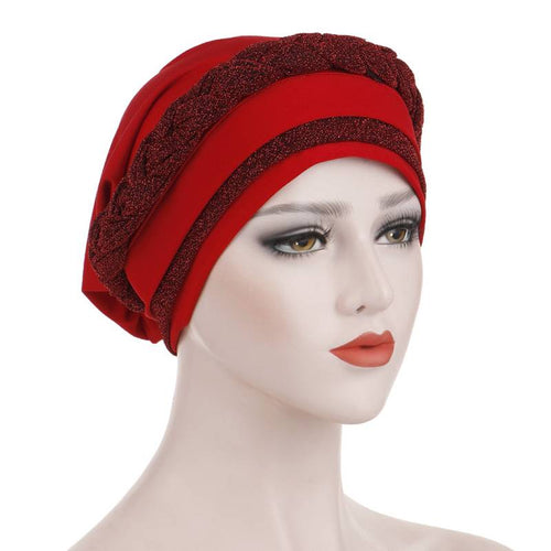Adrian Braided Flasher Headwrap Headscarf Hijab Turban Cancer Hat Elastic Hair Accessories Hair Loss Headcovering Shop Online Fancy Headcovers-Red
