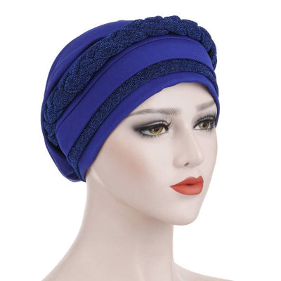 Adrian Braided Flasher Headwrap Headscarf Hijab Turban Cancer Hat Elastic Hair Accessories Hair Loss Headcovering Shop Online Fancy Headcovers-Royal-Blue