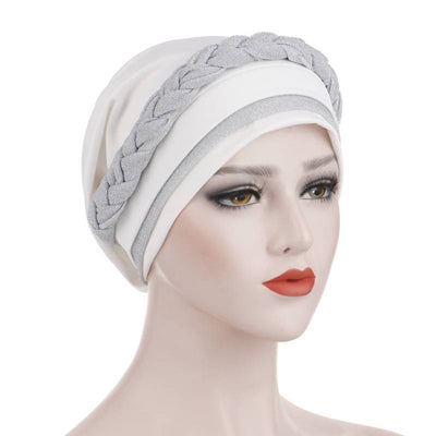 Adrian Braided Flasher Headwrap Headscarf Hijab Turban Cancer Hat Elastic Hair Accessories Hair Loss Headcovering Shop Online Fancy Headcovers-White