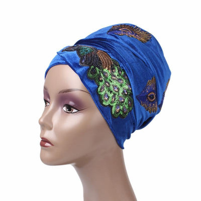 African Peacock Head Wrap_Headscarf_Headwear_Head covering_Headscarves_Blue