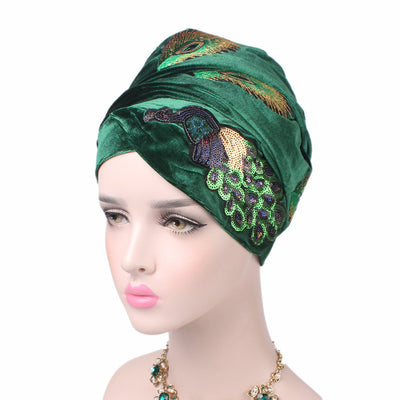 African Peacock Head Wrap_Headscarf_Headwear_Head covering_Headscarves_Green