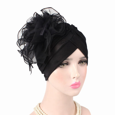 Alexis_Turban_Turbans_Head_covering_Modest_Floral_Headcovers_Fancy_Wedding_Tea_Party_Black