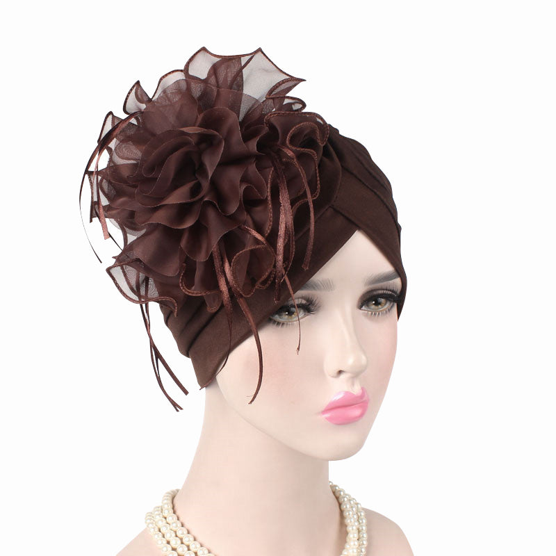 Alexis_Turban_Turbans_Head_covering_Modest_Floral_Headcovers_Fancy_Wedding_Tea_Party_Brown