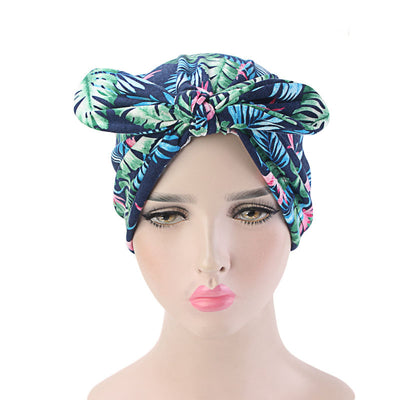Amy Cotton Turban_Turbans_Head_covering_Modest_Headcovres_Flower_Cotton_Chemo hat_Cancer hat_African_Print_Basic_Pre_tied_Bow_Navy