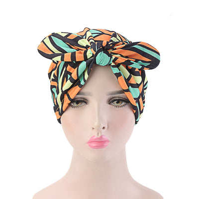 Amy Cotton Turban_Turbans_Head_covering_Modest_Headcovres_Flower_Cotton_Chemo hat_Cancer hat_African_Print_Basic_Pre_tied_Bow_Orange