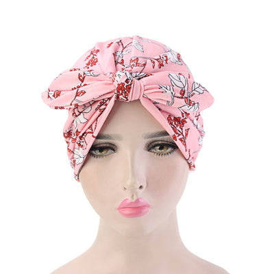 Amy Cotton Turban_Turbans_Head_covering_Modest_Headcovres_Flower_Cotton_Chemo hat_Cancer hat_African_Print_Basic_Pre_tied_Bow_Pink