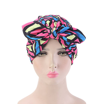 Amy Cotton Turban_Turbans_Head_covering_Modest_Headcovres_Flower_Cotton_Chemo hat_Cancer hat_African_Print_Basic_Pre_tied_Bow_Rose