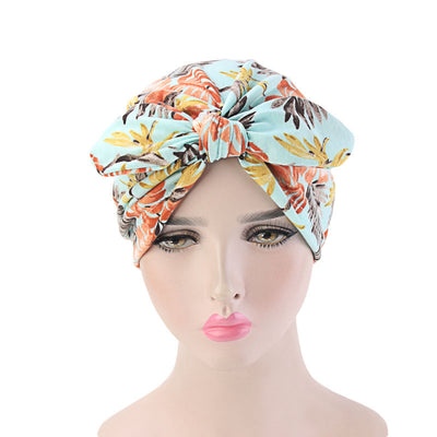 Amy Cotton Turban_Turbans_Head_covering_Modest_Headcovres_Flower_Cotton_Chemo hat_Cancer hat_African_Print_Basic_Pre_tied_Bow_Turquoise