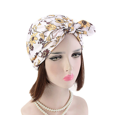 Amy Cotton Turban_Turbans_Head_covering_Modest_Headcovres_Flower_Cotton_Chemo hat_Cancer hat_African_Print_Basic_Pre_tied_Bow_White-2