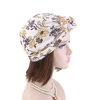 Amy Cotton Turban_Turbans_Head_covering_Modest_Headcovres_Flower_Cotton_Chemo hat_Cancer hat_African_Print_Basic_Pre_tied_Bow_White-4
