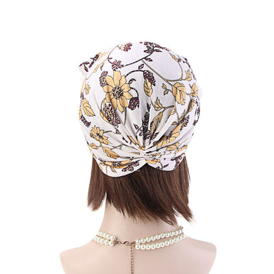 Amy Cotton Turban_Turbans_Head_covering_Modest_Headcovres_Flower_Cotton_Chemo hat_Cancer hat_African_Print_Basic_Pre_tied_Bow_White-3