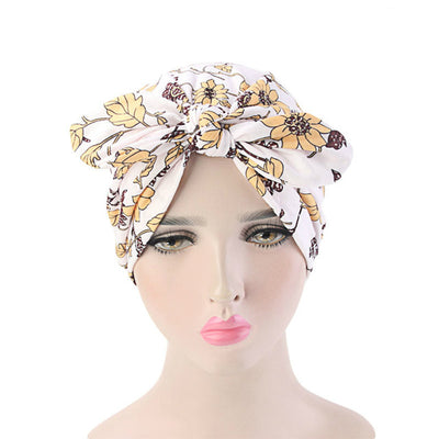 Amy Cotton Turban_Turbans_Head_covering_Modest_Headcovres_Flower_Cotton_Chemo hat_Cancer hat_African_Print_Basic_Pre_tied_Bow_White