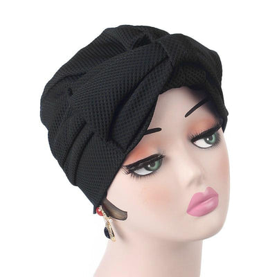 Anita Luxury Bow Turban_Head_covering_Modest_Headcovers_Fancy_Bonnet_Chemo Hijab_Beanie_Cap _Turbante_hair _accessories_Black