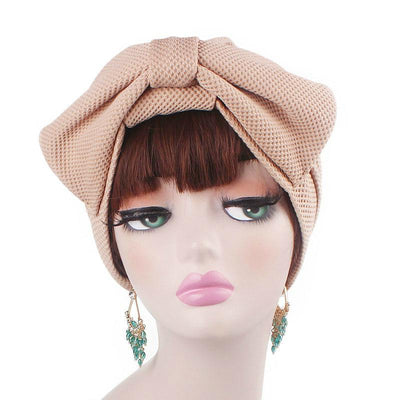 Anita Luxury Bow Turban_Head_covering_Modest_Headcovers_Fancy_Bonnet_Chemo Hijab_Beanie_Cap _Turbante_hair _accessories_Khaki-5