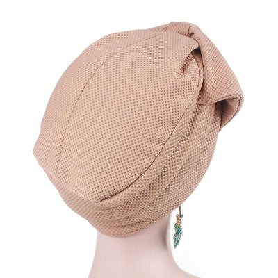 Anita Luxury Bow Turban_Head_covering_Modest_Headcovers_Fancy_Bonnet_Chemo Hijab_Beanie_Cap _Turbante_hair _accessories_Khaki-4