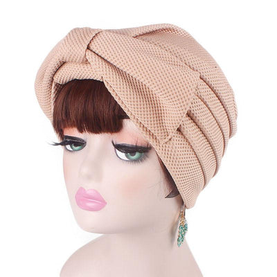 Anita Luxury Bow Turban_Head_covering_Modest_Headcovers_Fancy_Bonnet_Chemo Hijab_Beanie_Cap _Turbante_hair _accessories_Khaki-6