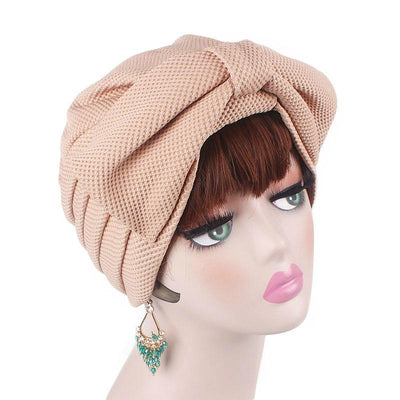 Anita Luxury Bow Turban_Head_covering_Modest_Headcovers_Fancy_Bonnet_Chemo Hijab_Beanie_Cap _Turbante_hair _accessories_Khaki-2