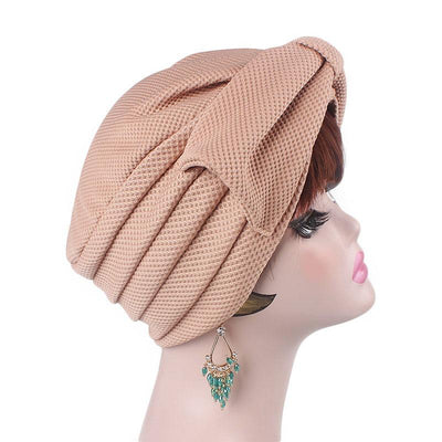 Anita Luxury Bow Turban_Head_covering_Modest_Headcovers_Fancy_Bonnet_Chemo Hijab_Beanie_Cap _Turbante_hair _accessories_Khaki-3
