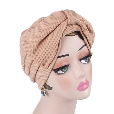 Anita Luxury Bow Turban_Head_covering_Modest_Headcovers_Fancy_Bonnet_Chemo Hijab_Beanie_Cap _Turbante_hair _accessories_Khaki