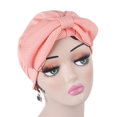 Anita Luxury Bow Turban_Head_covering_Modest_Headcovers_Fancy_Bonnet_Chemo Hijab_Beanie_Cap _Turbante_hair _accessories_Pink