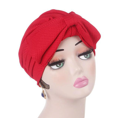 Anita Luxury Bow Turban_Head_covering_Modest_Headcovers_Fancy_Bonnet_Chemo Hijab_Beanie_Cap _Turbante_hair _accessories_Red