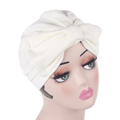 Anita Luxury Bow Turban_Head_covering_Modest_Headcovers_Fancy_Bonnet_Chemo Hijab_Beanie_Cap _Turbante_hair _accessories_White