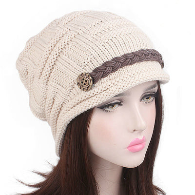 Baggy Hat Women Winter Beanie Knitted Baggy Hat Button Strap Cap Beige