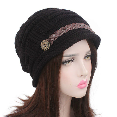 Baggy Hat Women Winter Beanie Knitted Baggy Hat Button Strap Cap Black