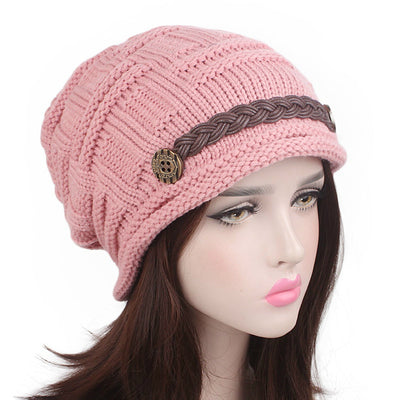 Baggy Hat Women Winter Beanie Knitted Baggy Hat Button Strap Cap Pink-2