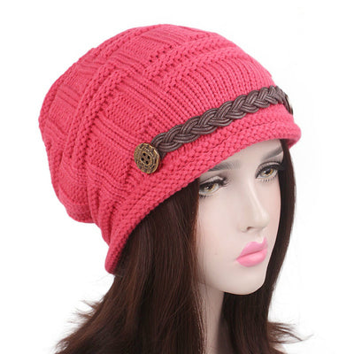 Baggy Hat Women Winter Beanie Knitted Baggy Hat Button Strap Cap Pink