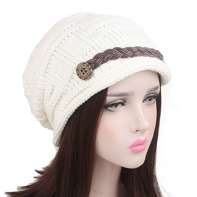 Baggy Hat Women Winter Beanie Knitted Baggy Hat Button Strap Cap White