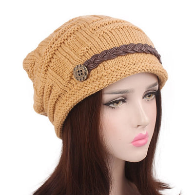 Baggy Hat Women Winter Beanie Knitted Baggy Hat Button Strap Cap Camel-2