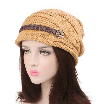 Baggy Hat Women Winter Beanie Knitted Baggy Hat Button Strap Cap Camel-3