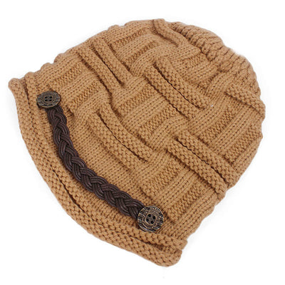 Baggy Hat Women Winter Beanie Knitted Baggy Hat Button Strap Cap Camel-4