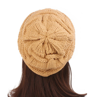 Baggy Hat Women Winter Beanie Knitted Baggy Hat Button Strap Cap Camel-5