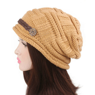 Baggy Hat Women Winter Beanie Knitted Baggy Hat Button Strap Cap Camel-6