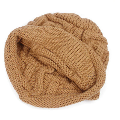 Baggy Hat Women Winter Beanie Knitted Baggy Hat Button Strap Cap Camel-7