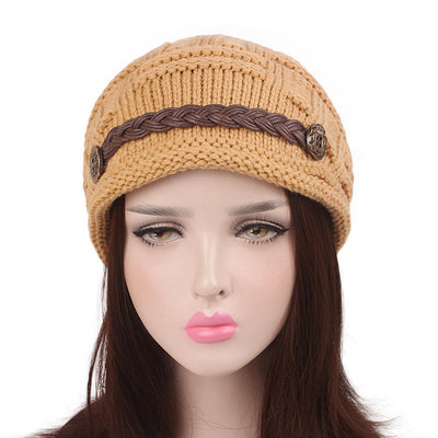 Baggy Hat Women Winter Beanie Knitted Baggy Hat Button Strap Cap Camel
