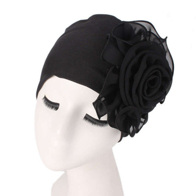Bika Turban_Turbans_Head_covering_Modest_Floral_Headcovers_Black