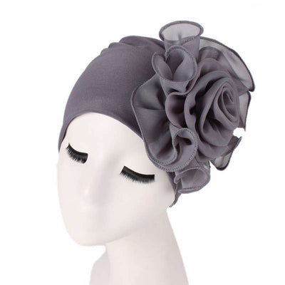 Bika Turban_Turbans_Head_covering_Modest_Floral_Headcovers_Gray