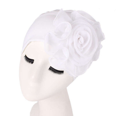 Bika Turban_Turbans_Head_covering_Modest_Floral_Headcovers_White