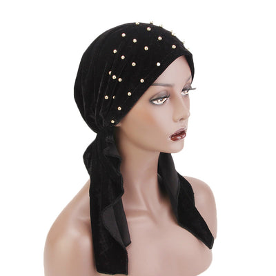 Candy Velvet Beaded Bandanna Chemo Hat Pre-Tied Headwear Bandana Tichel for Cancer Headcovering Black