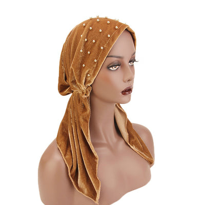 Candy Velvet Beaded Bandanna Chemo Hat Pre-Tied Headwear Bandana Tichel for Cancer Headcovering Camel