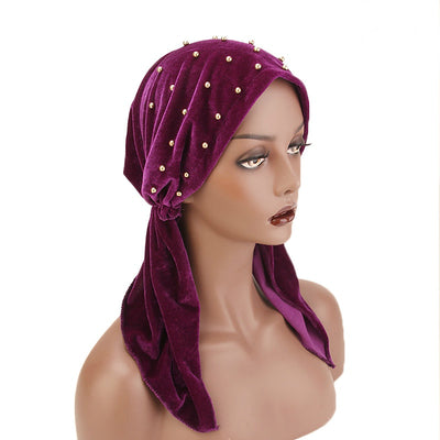 Candy Velvet Beaded Bandanna Chemo Hat Pre-Tied Headwear Bandana Tichel for Cancer Headcovering Purple